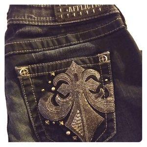 Affliction Jade Black Premium Size 27 Long jeans